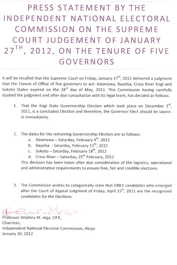 INEC Press Statement